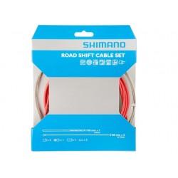 Kit Cables y Fundas Shimano Cambio Sil-Tec Rojo